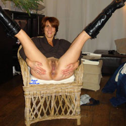 Chair - Pantieless Girls, Redhead, Bush Or Hairy, Amateur, legs spread wide open, Mature