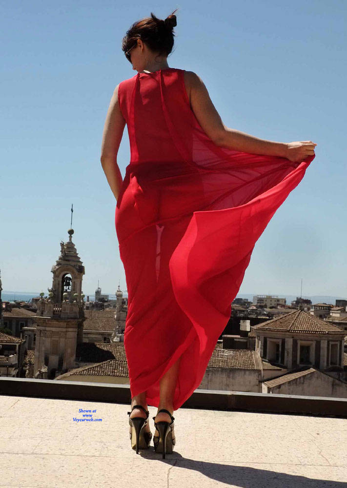 Pic #2 Red Roof Dress - Nude Girls, Public Exhibitionist, Flashing, Outdoors, See Through, Bush Or Hairy, Amateur, High Heels Amateurs, Firm Ass