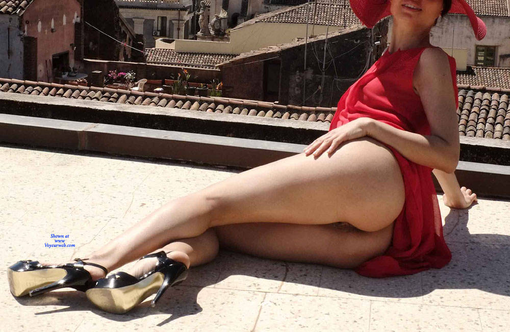 Pic #4 Red Roof Dress - Nude Girls, Public Exhibitionist, Flashing, Outdoors, See Through, Bush Or Hairy, Amateur, High Heels Amateurs, Firm Ass