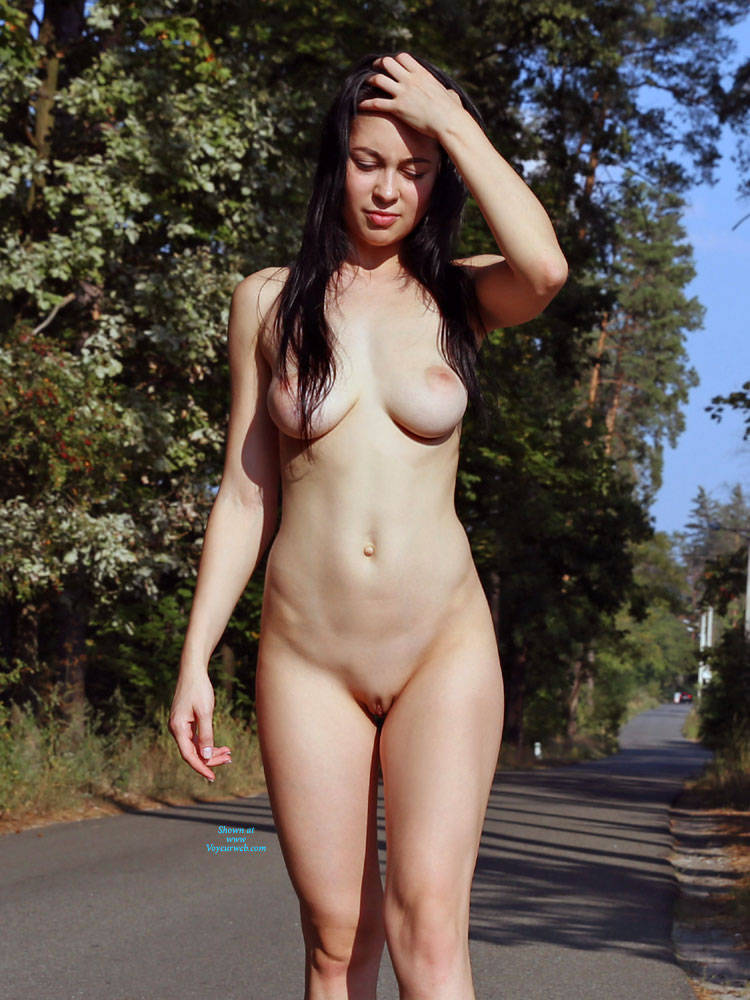 Pic #2 Brave Walk Along The Road - Nude Girls, Big Tits, Brunette, Public Exhibitionist, Flashing, Outdoors, Public Place, Shaved, Amateur, Firm Ass