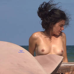 Pic #5 Late Afternoon - Nude Girls, Beach, Brunette, Outdoors, Shaved, Firm Ass, Beach Voyeur