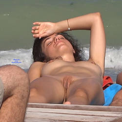 Pic #9 Late Afternoon - Nude Girls, Beach, Brunette, Outdoors, Shaved, Firm Ass, Beach Voyeur
