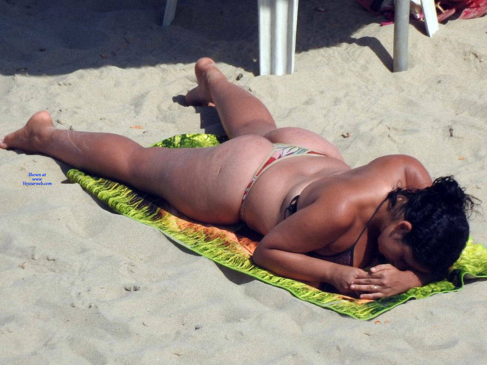 Pic #2 Big Ass On Beach - Beach, Brunette, Outdoors, Bikini Voyeur