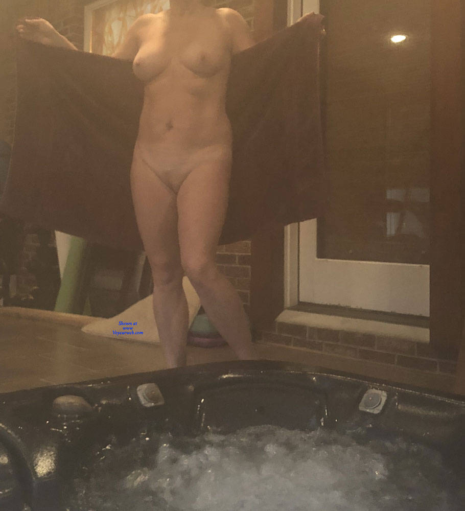 Pic #2 Enjoying The Hot Tub - Nude Wives, Big Tits, Mature, Outdoors, Amateur