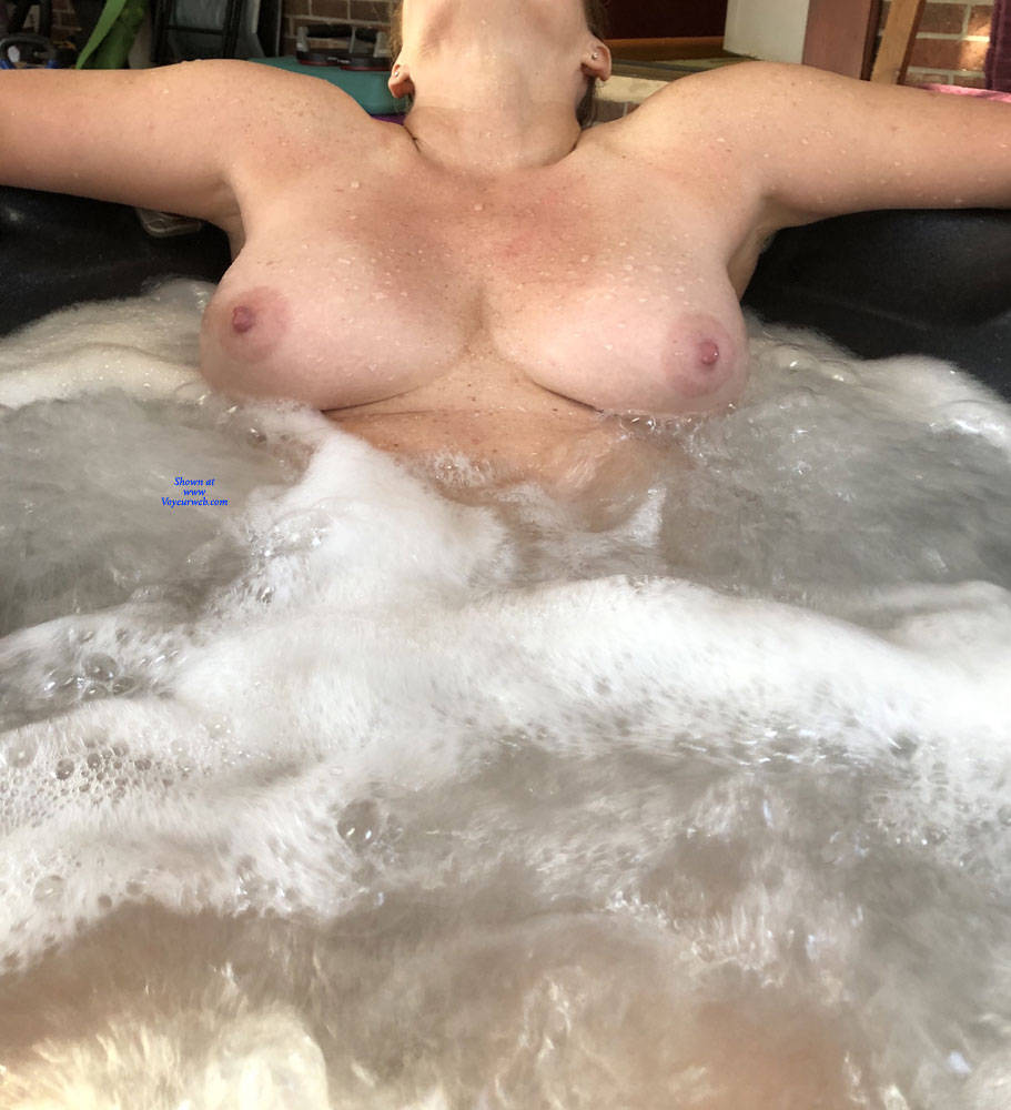 Pic #6 Enjoying The Hot Tub - Nude Wives, Big Tits, Mature, Outdoors, Amateur