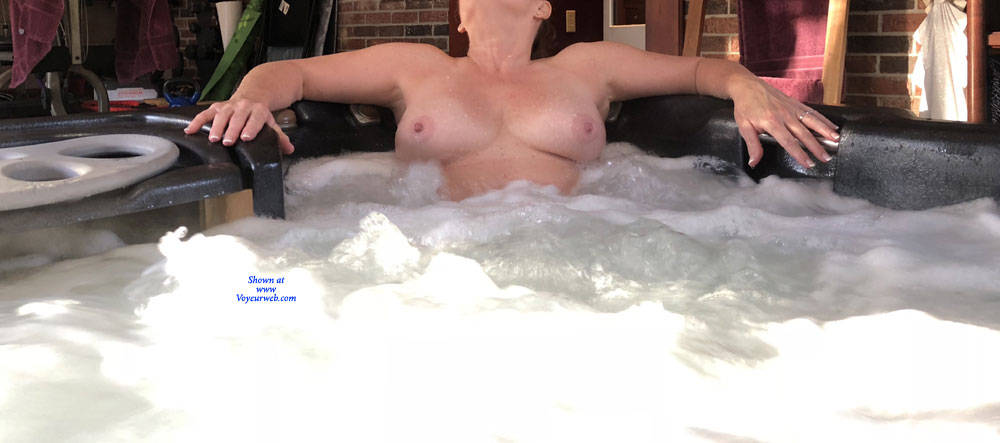Pic #7 Enjoying The Hot Tub - Nude Wives, Big Tits, Mature, Outdoors, Amateur
