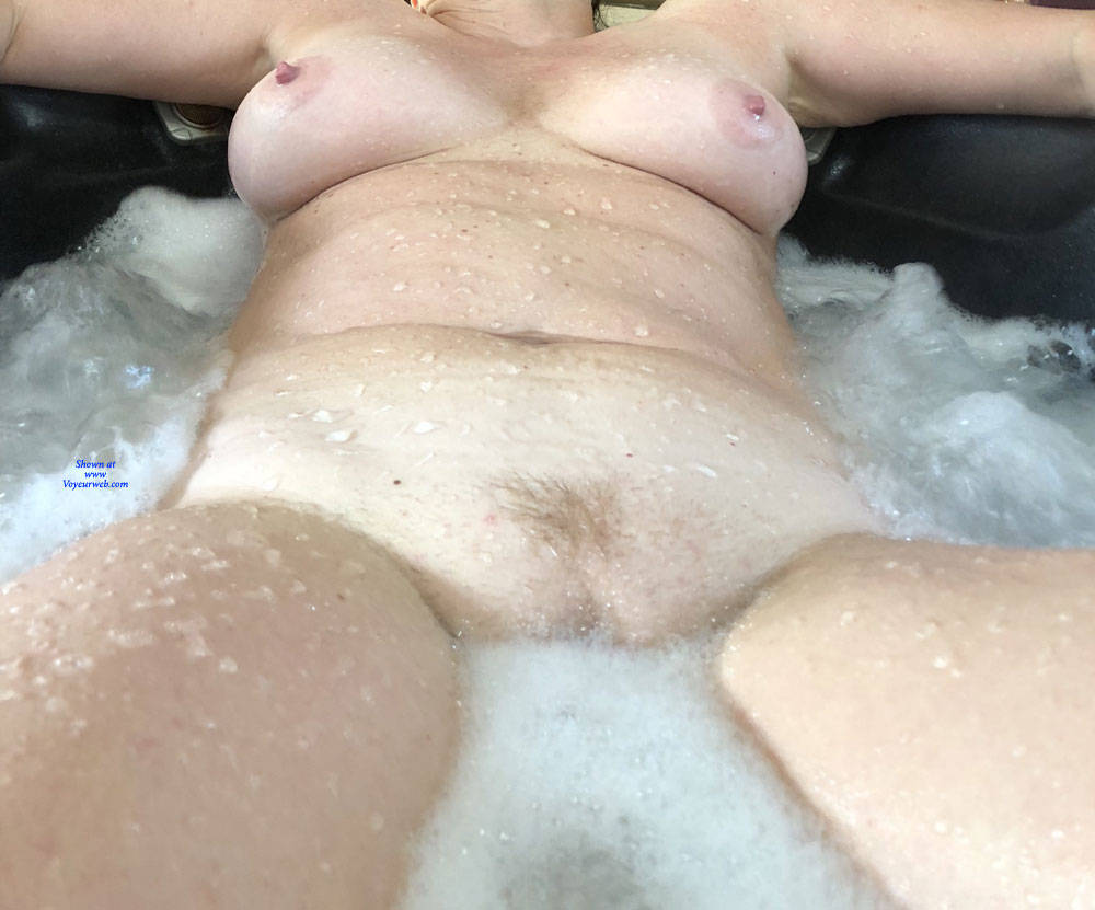 Pic #10 Enjoying The Hot Tub - Nude Wives, Big Tits, Mature, Outdoors, Amateur