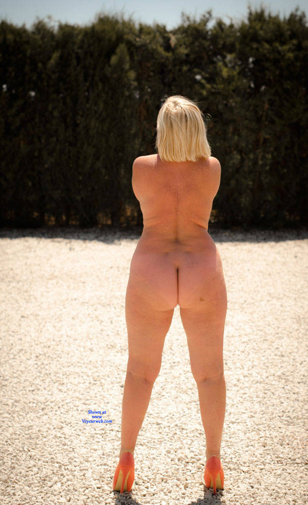 Pic #10 Wife's Asset - Nude Wives, Big Tits, Blonde, High Heels Amateurs, Outdoors