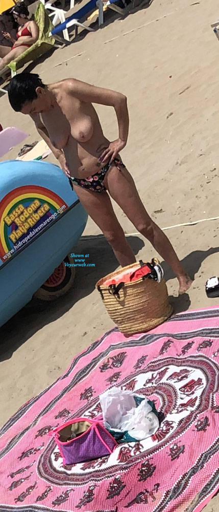 Pic #3 Sitges Summer 2018 - Topless Girls, Beach, Big Tits, Brunette, Outdoors, Beach Voyeur