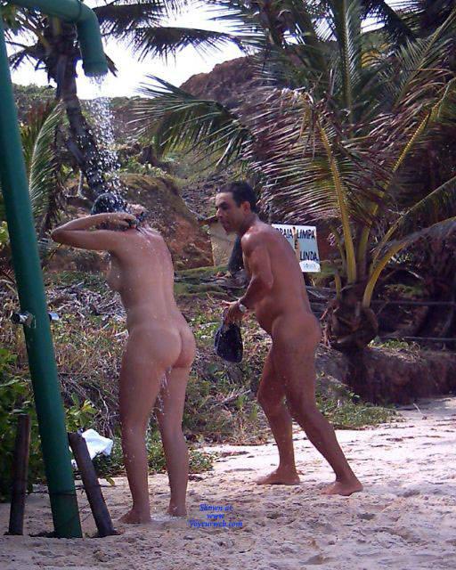 Pic #2 Shower On Beach - Nude Girls, Brunette, Outdoors, Bush Or Hairy, Beach Voyeur
