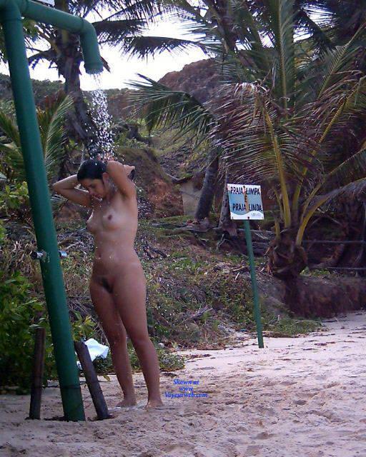 Pic #3 Shower On Beach - Nude Girls, Brunette, Outdoors, Bush Or Hairy, Beach Voyeur