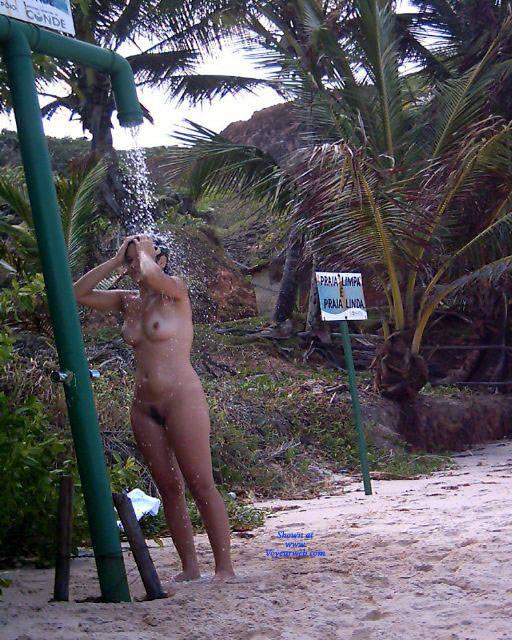 Pic #7 Shower On Beach - Nude Girls, Brunette, Outdoors, Bush Or Hairy, Beach Voyeur