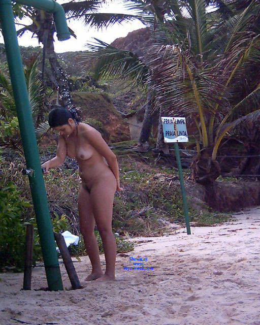 Pic #1 Shower On Beach - Nude Girls, Brunette, Outdoors, Bush Or