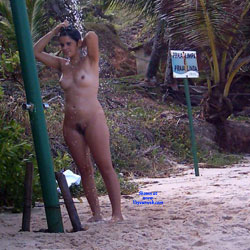 Shower On Beach - Nude Girls, Brunette, Outdoors, Bush Or Hairy, Beach Voyeur