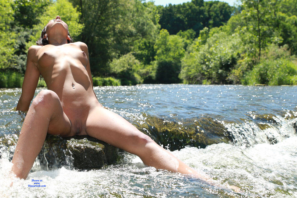 Pic #4 Sexy Sierra Enjoying The Stream - Nude Girls, Brunette, Outdoors, Shaved, Nature, Amateur