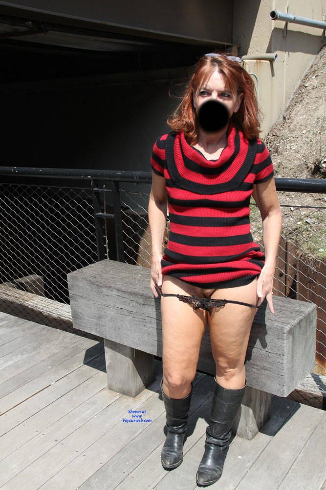 Pic #2 Tesa's Riverwalk - Pantieless Wives, Public Exhibitionist, Flashing, Outdoors, Public Place, Redhead, Amateur