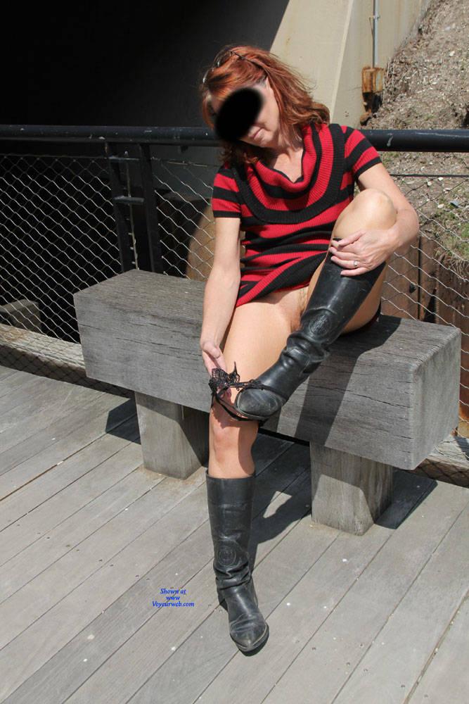 Pic #3 Tesa's Riverwalk - Pantieless Wives, Public Exhibitionist, Flashing, Outdoors, Public Place, Redhead, Amateur