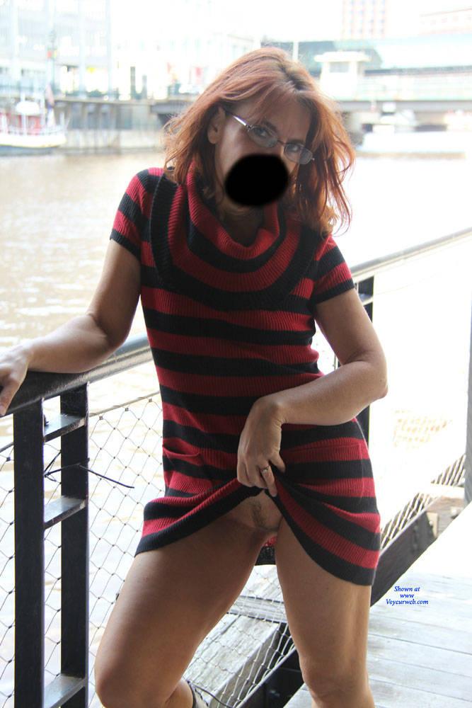 Pic #6 Tesa's Riverwalk - Pantieless Wives, Public Exhibitionist, Flashing, Outdoors, Public Place, Redhead, Amateur