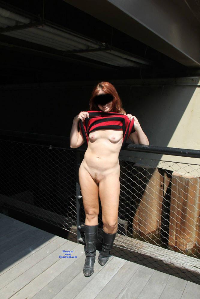Pic #8 Tesa's Riverwalk - Pantieless Wives, Public Exhibitionist, Flashing, Outdoors, Public Place, Redhead, Amateur