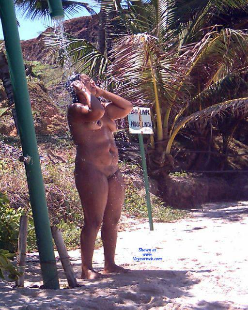 Pic #3 Shower On Beach - Nude Girls, Brunette, Outdoors, Beach Voyeur