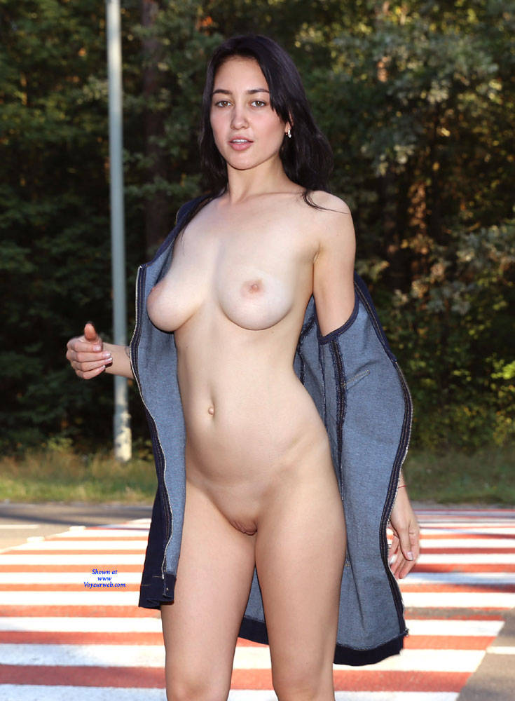 Pic #2 More Fun For Drivers - Nude Girls, Big Tits, Brunette, Public Exhibitionist, Flashing, Outdoors, Public Place, Shaved, Amateur, Firm Ass