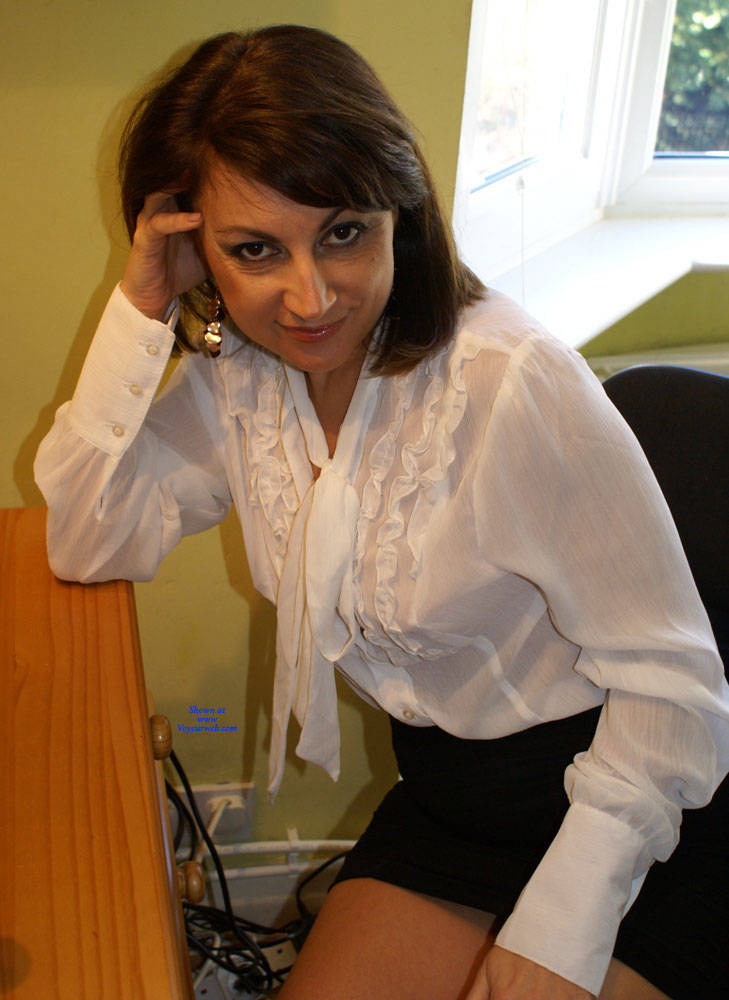 Pic #1 Anna -  White Blouse And Skirt - Brunette, Amateur