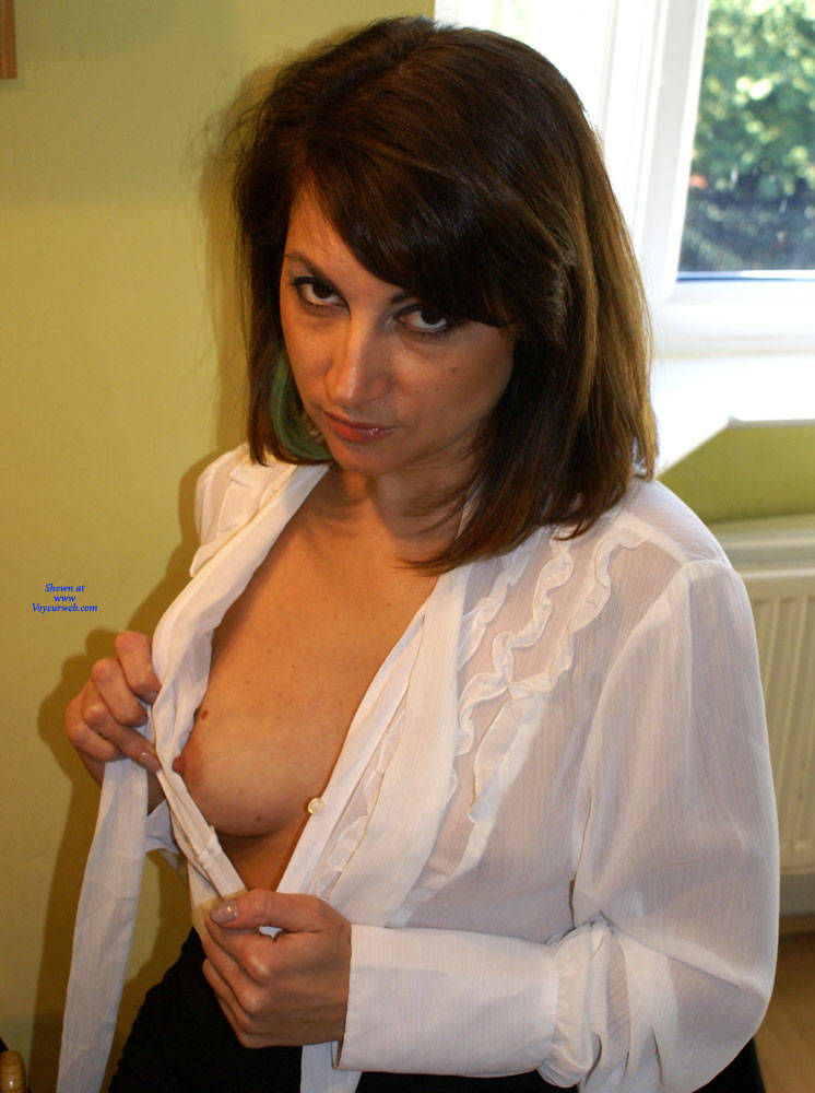 Pic #2 Anna -  White Blouse And Skirt - Brunette, Amateur