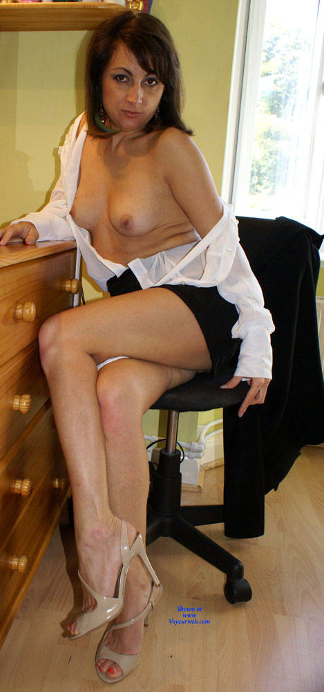 Pic #4 Anna -  White Blouse And Skirt - Brunette, Amateur