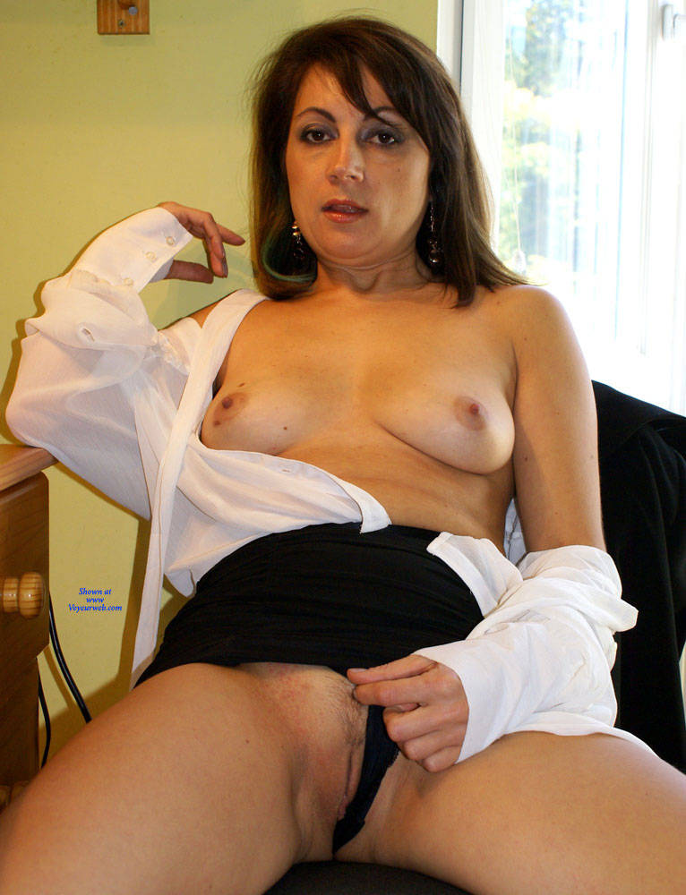 Pic #5 Anna -  White Blouse And Skirt - Brunette, Amateur