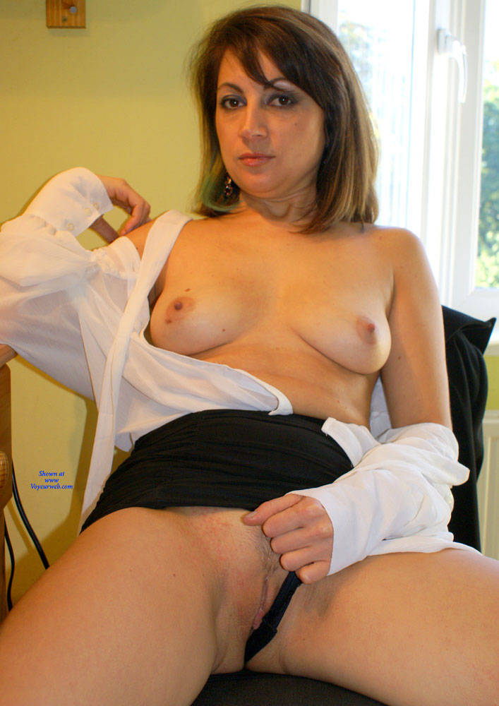 Pic #6 Anna -  White Blouse And Skirt - Brunette, Amateur