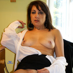 Anna -  White Blouse And Skirt - Brunette Hair, Amateur