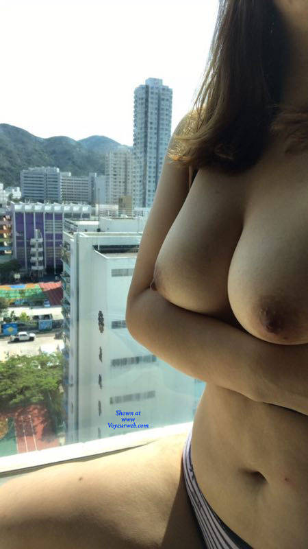 Pic #1 My Horny Girl Loves To Flash - Big Tits, Public Exhibitionist, Flashing, Outdoors, Public Place, Amateur