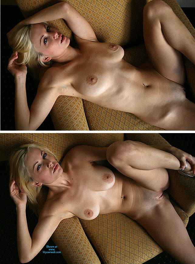 Pic #4 Breasts In Yellow Chair - Nude Girls, Big Tits, Blonde, Shaved, Amateur