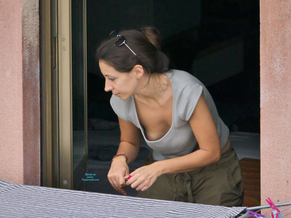 Pic #3 Neighbor Downblouse - Brunette, Outdoors, Small Tits