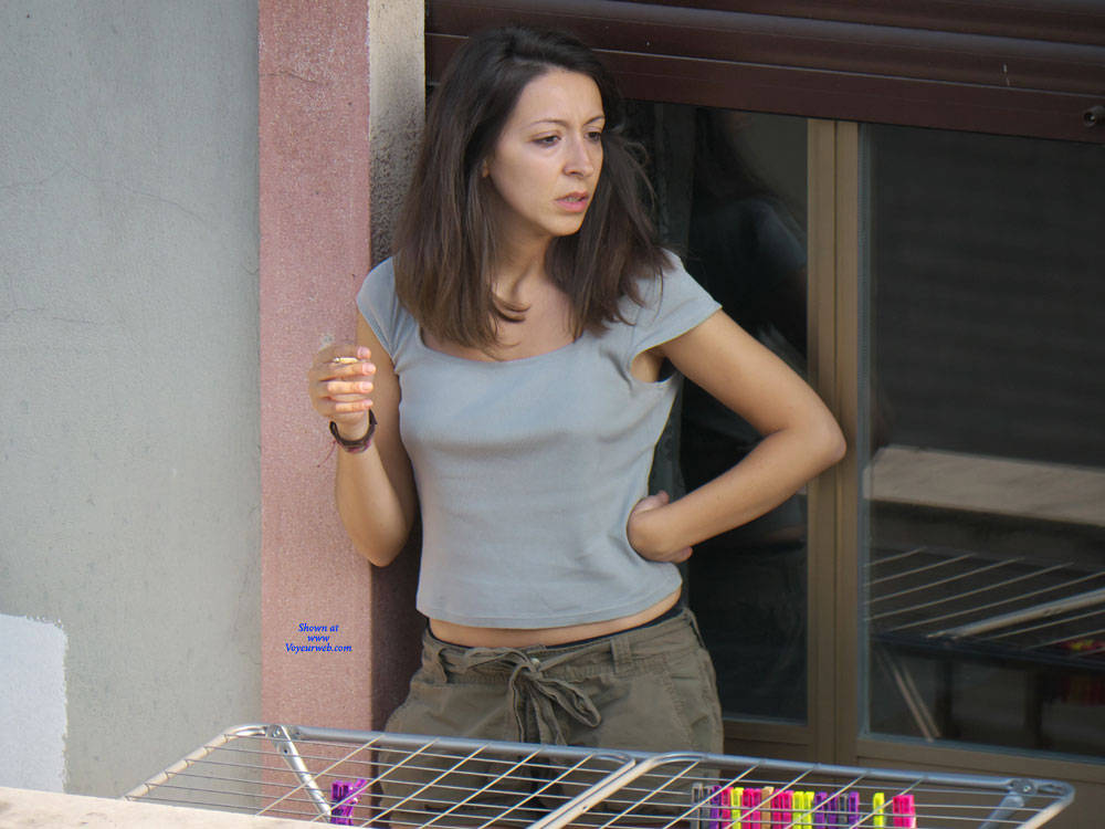 Pic #7 Neighbor Downblouse - Brunette, Outdoors, Small Tits