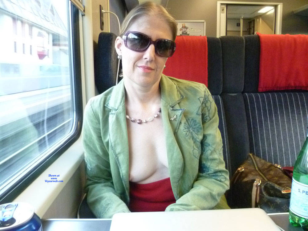 Pic #2 Flashing On Trains - Big Tits, Public Exhibitionist, Flashing, Public Place, Wife/wives, Amateur