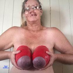 Big Red Tied Tits - Big Tits, Amateur, fetish pics