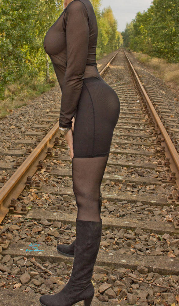 Pic #2 On The Railroad Track - Big Tits, Lingerie, Outdoors, See Through, Amateur