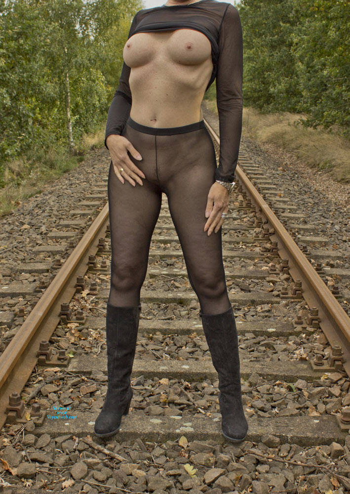 Pic #7 On The Railroad Track - Big Tits, Lingerie, Outdoors, See Through, Amateur