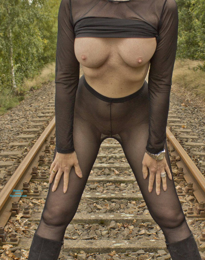 Pic #8 On The Railroad Track - Big Tits, Lingerie, Outdoors, See Through, Amateur