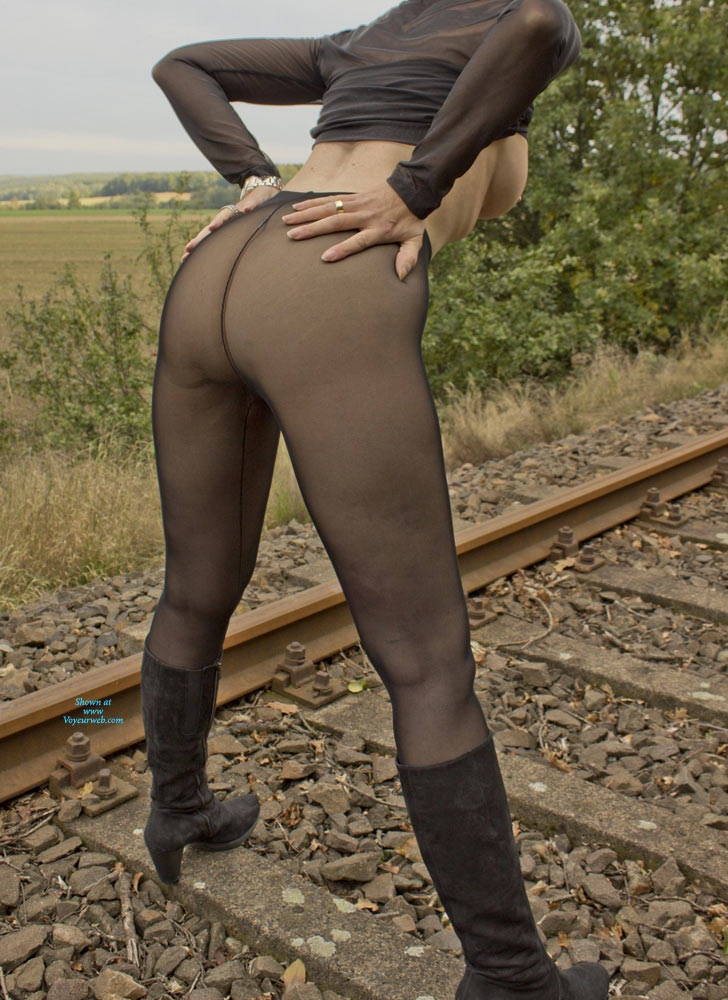 Pic #1 On The Railroad Track - Big Tits, Lingerie, Outdoors, See Through, Amateur