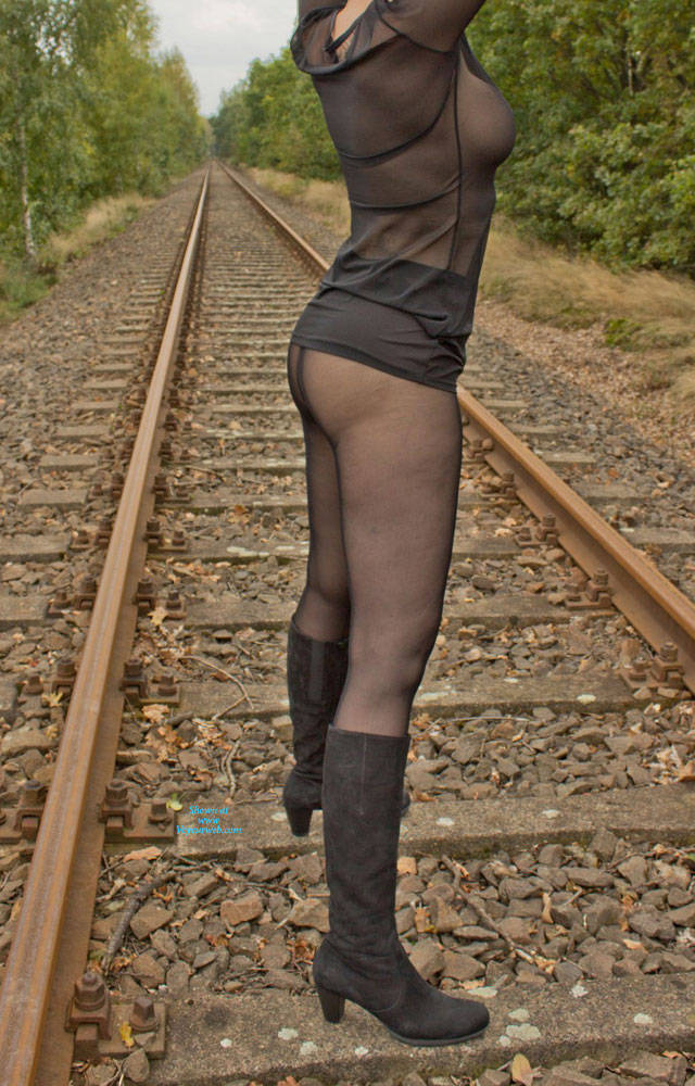 Pic #10 On The Railroad Track - Big Tits, Lingerie, Outdoors, See Through, Amateur