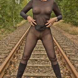 On The Railroad Track - Big Tits, Lingerie, Outdoors, See Through, Amateur