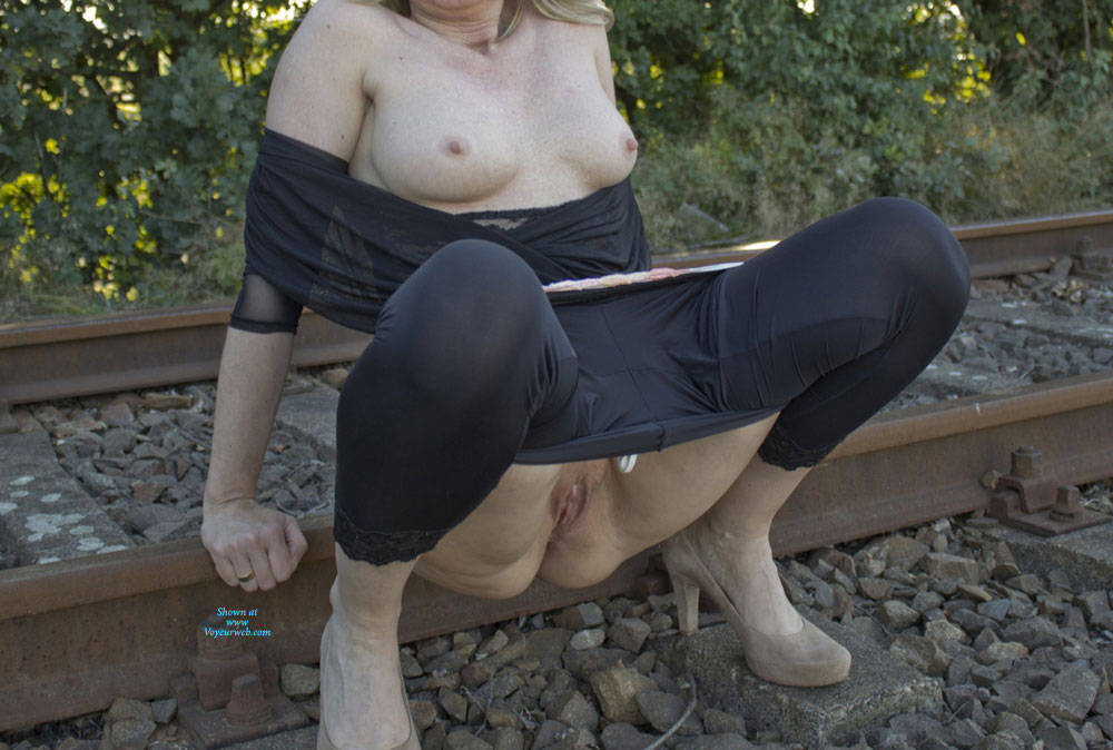 Pic #3 Railroad And Nylons Part II - Lingerie, Outdoors, Amateur