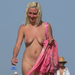 Walking On A Nude Beach - Big Tits, Brunette Hair, Hairy Bush, Nude Outdoors, Shaved, Beach Voyeur, Naked Girl