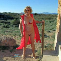 Jo Strips Near Mallorca Beach On Windy Day - Big Tits, Mature, Outdoors, Amateur