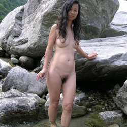 Shaved watching asian outdoor