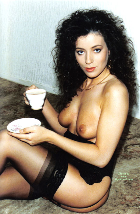 Pic #1 - Girl In Black Lingerie - Black Hair, Milf, Sexy Face , Glamour Girl, Drinking Tea, Spanish Beauty On Siesta, Sitting On Floor, Black Lingerie