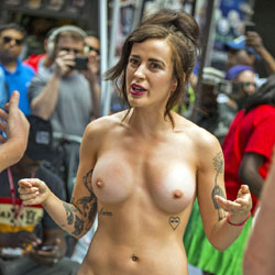 Diversity Parade Times Square NY - Nude Girls, Big Tits, Brunette, Outdoors, Shaved