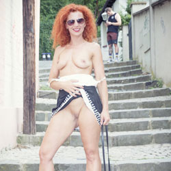 Lena - Fun In The City - Nude Girls, Big Tits, Public Exhibitionist, Flashing, Outdoors, Public Place, Redhead, Shaved, Amateur, Firm Ass, legs spread wide open
